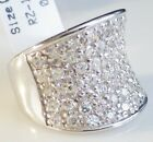 "Concave Ring in Sterling Silver 925 with SHINY CZ's- 5/8"" Wide-Size Selectable"
