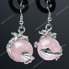 Rose Quartz Gem Dragon Wrap Ball Hook healing chakra Dangle Earring Eardrop