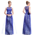 Blue Leopard Print Long Maxi Formal Evening Party Dresses Prom Gown 09978 6-18