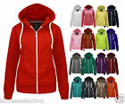 Womens Hooded Jacket Ladies Plain Zip Hoodie Sweatshirt Fleece Sizes 6-14 New
