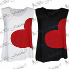 Ladies New Stretchy Love Heart Print Party Sleeveless Womens Scoop Neck Vest Top