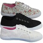 WOMENS FLORAL FLAT TRAINERS LADIES GIRLS CASUAL PLIMSOLES PUMPS SHOES SIZE 3-8