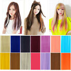 Multi-Color Women Long Straight Synthetic Clip  in on Hair Extensions Piece high