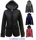NEW LADIES FITTED QUILTED WOMENS PADDED ZIP JACKET COAT TOP 8-14