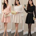 autumn and winter ladies temperament Slim thin long-sleeved dress pleated