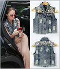 Chic Womens Punk Jean Vest Sleeveless Jacket Sequins Denim Waistcoat Casual