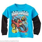 NWT ANGRY BIRDS Born to Win! Mock Layer Graphic Tee Top U Pick Size NEW