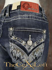 Womens GRACE IN LA Bootcut Jeans with Blue & Khaki Tribal Pockets with Crystals!