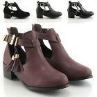 WOMENS CHELSEA FLAT HEEL BIKER CUT OUT GOLD BUCKLE ANKLE SHOES BOOTS SIZE 3-8