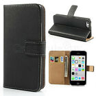 iPhone 5C 5S 5 Genuine Leather Wallet Flip Case Cover Card Slot Holder Stand New