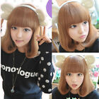 Women's Cute Fashion New Curly Wavy Short Brown Hair Wig Cosplay Party Full Wigs