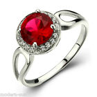 925 Sterling Circle Ruby Wedding Engagement Micro inlays Ring Silver R9203