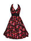 Womens Fifties 50s Vintage Style Hearts & Roses H/Neck Party Tea Dress New 8-18