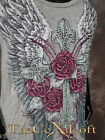 Womens VOCAL Shirt Sleeveless Tunic Tank Top Wings with Flower Lace Back