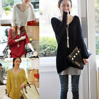 Sexy Women's V-neck Oversized Batwing Loose Knitted Sweater Jumper Pullover HOT