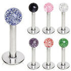 Surgical Steel Labret / Monroe with Metallic Glitter Ball - Choose Colour