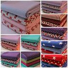 Bundle of 4 x FULL METRE Fabric Stars Stripes Spots and Flowers 100% Cotton.
