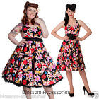 RKP13 Hell Bunny Hawaii 50s Rockabilly Pin Up Floral Hibiscus Swing Dress Plus