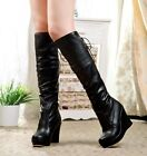 Wedge Tall Knee High women boots spring autumn Shoes AU sizes Black White H75