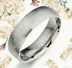 Groom & Bride Silver Dome Comfort Fit Titanium Rings 091A4