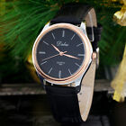 4 Colors Round Dial Golden pointer Leather Band Quartz Wrist Watch Hours Clock