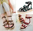 Womens Leopard Buckle Strap Flat Sandals Shoes Plus Size Red/Green/Brown 149