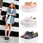 Womens Ladies Round Toe Cross Lace Up High Platform Flat Creeper Casual Shoes Q2