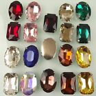 XL 26-30mm Bright Glass Crystal Rhinestones Cabochon wit Sew On Metal Back Clasp