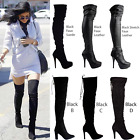 WOMENS LADIES BLACK OVER THE KNEE THIGH HIGH STILETTO HEEL PLATFORM BOOTS SIZE