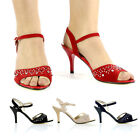 LADIES PEEP-TOE PARTY SHOES WOMENS MID HEELS ANKLE STRAP HIGH FASHION SANDALS SZ