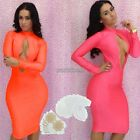 Womens Celeb Style Red Orange Party Evening Cocktail Bandage Bodycon Dress WST