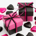 Fuchsia Pink & Black Silk Square Boxes & Lids Luxury Wedding Favour Party Boxes