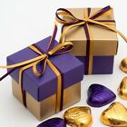 Gold and Purple Silk Square Boxes & Lids Luxury Wedding Favour Party Boxes