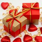 Red and Gold Silk Square Boxes & Lids Luxury Wedding Favour Party Boxes