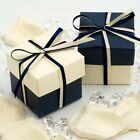 Navy Blue and Cream Silk Square Boxes & Lids Wedding Favour Boxes