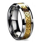Tungsten Carbide Sliver/Gold Celtic Dragon Inlay Mens Wedding Band Ring Size7-12