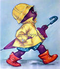 Cute African American Boy City Slicker Umbrella Rain Coat Quilting Fabric Block