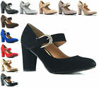 NEW WOMENS LADIES SUEDE PATENT BLOCK HEEL BUCKLE COURT WORK CASUAL SHOES 3-8