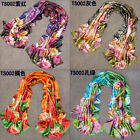 New Women Girls Floral Print Crinkle Long Soft Scarf Wrap Shawl Stole