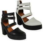NEW WOMENS LADIES ANKLE STRAPS ZIP HIGH BLOCK HEEL SHOES CHUNKY SANDALS SIZE