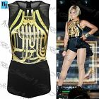Womens Ladies Gold Brasswind Celebrity Mesh Net Playsuit Bodysuit Leotard Top