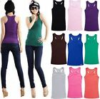 Ladies Plain Long Bodycon Racer Back Muscle Vest Women Sleeveless Maxi Gym Top