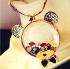 FD344 Women Girl Beautiful Colorful Crystal Rhinestone Teddy Bear Necklace 1PC/