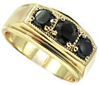 Three Jet Black Round Stones 18kt Gold EP Mens Ring