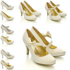 WOMENS BRIDAL WEDDING PROM PARTY LADIES HEELS CLASSIC PUMPS COURT SHOES SIZE 3-8