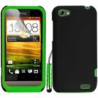Green Silicone Hybrid Case Cover For HTC ONE V + Screen Protector Stylus Pen