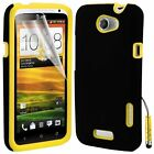 Yellow Hybrid Silicone Case Cover For HTC ONE X + Screen Protector Stylus Pen