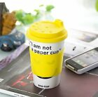 I'm not a paper cup Thermal Insulated Coffee Ceramic Travel Eco Cup Mug Yellow