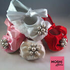 Baby Girl Pearl Diamante Bow Rose Soft Wedding Christening Shoes by Moshi Babies