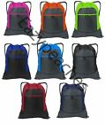 PEACHES Colorblock Drawstring Backpack Cinch Sack Tote Gym Bag Sport Pack 14X17
